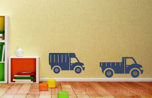 Trucks Set of 2 Boys Room Vinyl Decals Wall Art Stickers Best Decor-Deep Blue