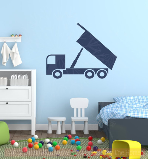 Unloading Dump Truck Vinyl Decals Boys Room Wall Art Sticker Decor-Deep Blue