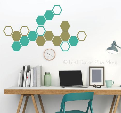 Honeycomb Hexagon Wall Sticker Shapes 2-Color Vinyl Decals Decor Art-Turquoise, Metallic Gold