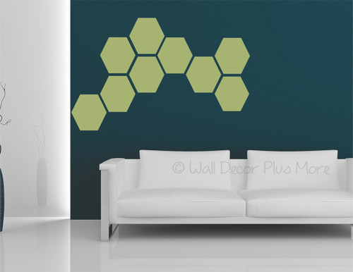 Hexagon Wall Stickers Shapes Vinyl Decals Honeycomb Art Décor 9inch-Olive Green
