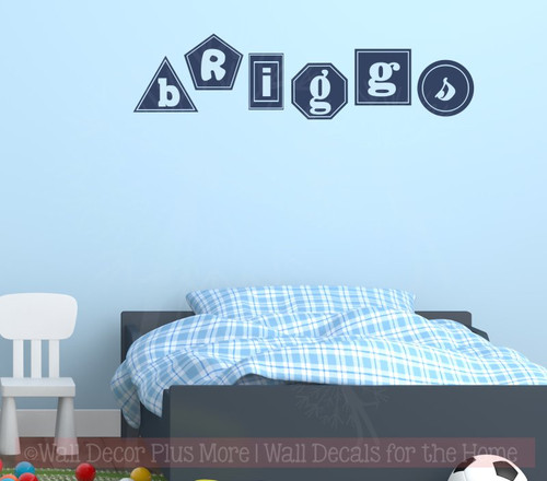 Geometric Shapes Personalized Name Wall Decals Nursery Décor Sticker Deep Blue