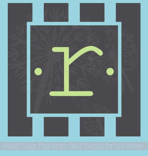 Striped Monogram Frames Vinyl Wall Decals for Personalized Home Decor