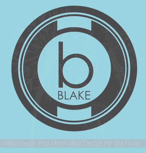 Circle Monogram with Kids Name Personalized Vinyl Lettering Wall Decals