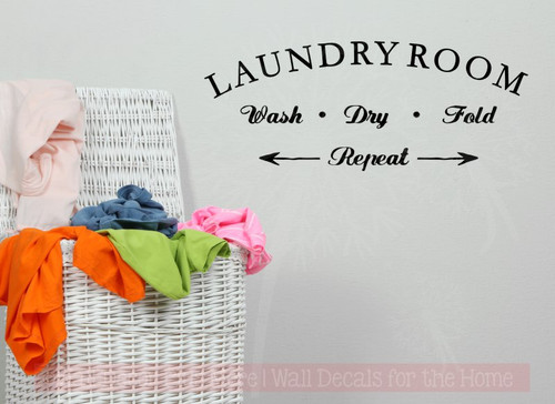 Laundry Room Wash Dry Fold Repeat Vinyl Lettering Decals Wall Decor-Black