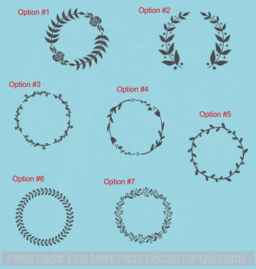 Laurel Floral Wreath 7 Options Wall Decals Vinyl Art Stickers Home Decor