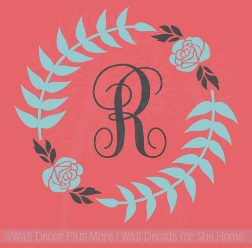 Monogram Floral Wreath Wall Sticker Vinyl Art Decals for Home Decor