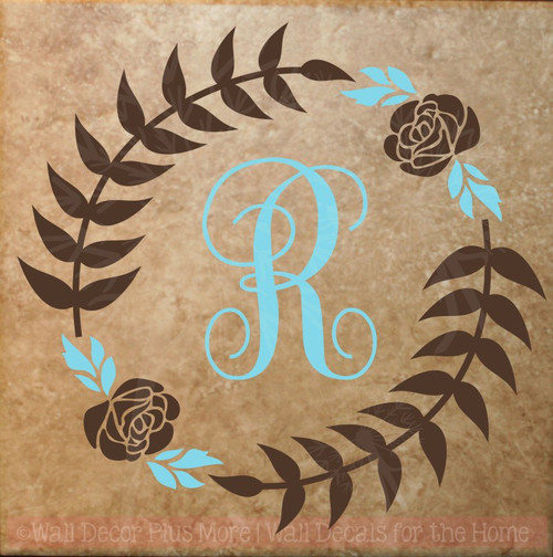 Monogram Floral Wreath Wall Sticker Vinyl Art Decals for Home Decor-Chocolate Brown, Geyser Blue
