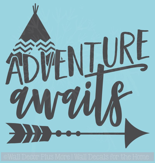 Adventure Awaits Quote with Arrow Vinyl Car Window Decals Sticker Art