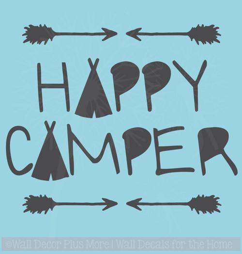Happy Camper Vinyl Lettering Quote Car Window Decals Sticker Art