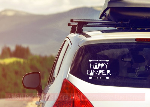 Happy Camper Vinyl Lettering Quote Car Window Decals Sticker Art-White