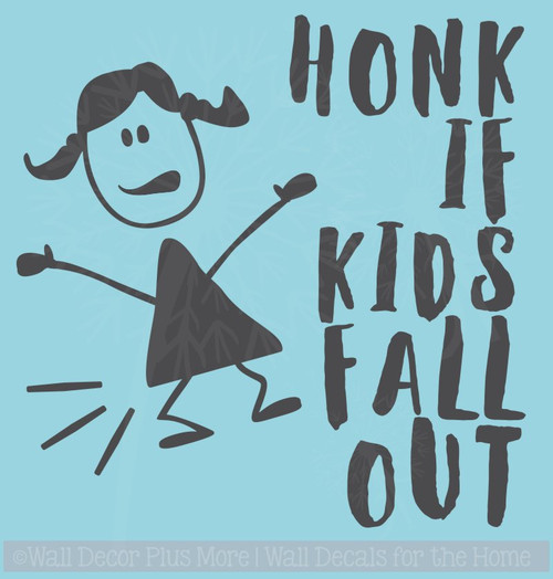 Honk If Kids Fall Out Car Window Art Stickers Vinyl Lettering Decals