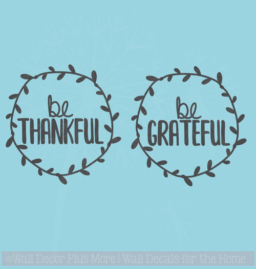 Be Thankful Laurel Wreaths Set of 2 Vinyl Sticker Car Window Decals