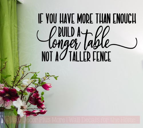 Build Longer Table, Not Fence Family Vinyl Letters Kitchen Wall Decals-Black