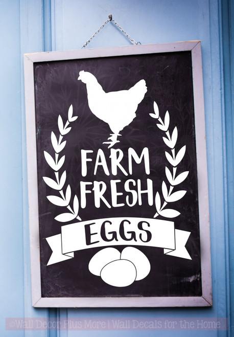 Farm Fresh Eggs Vinyl Art Decals Farmhouse Decor Wall Art Stickers-White