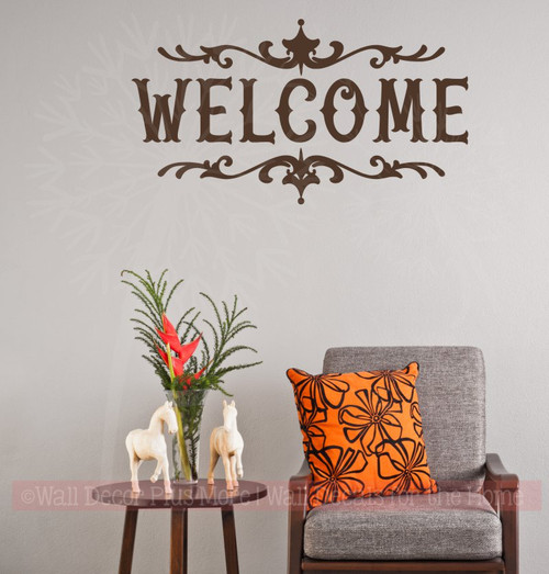 Welcome Home Vinyl Lettering Decals Wall Sticker Art Best Modern Decor-Chocolate