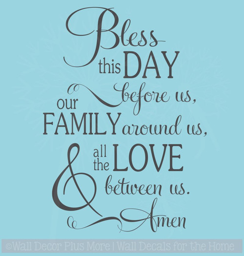 Bless This Day Family Love Kitchen Wall Decals Vinyl Lettering Stickers