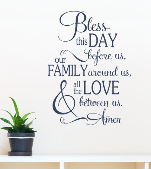 Kitchen Wall Decals Bless This Day Family Love Vinyl Lettering Stickers DeepBlue