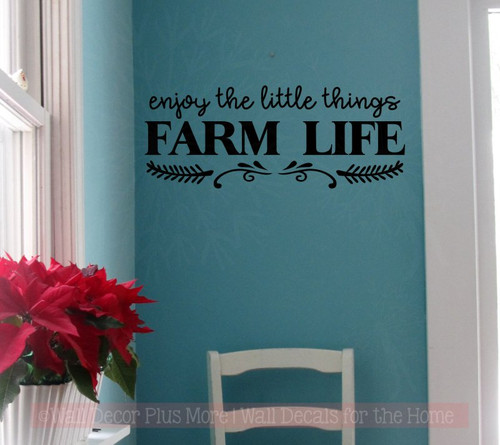 Enjoy Little Things Farm Life Farmhouse Wall Stickers Vinyl Lettering Décor Black