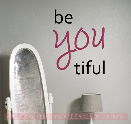 Be You Tiful Girls Vinyl Lettering Decals Inspirational Bathroom Wall Quotes Black/Berry