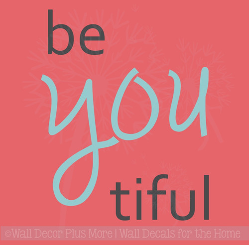 Be You Tiful Girls Vinyl Lettering Decals Inspirational Bathroom Wall Quotes
