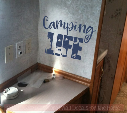 Camping Life RV Glamper Wall Stickers Decor Camper Vinyl Art Quote Decals Deep Blue