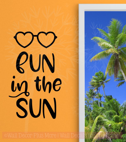 Fun in the Sun Summer Wall Sticker Quotes Vinyl Lettering Wall Decals Black