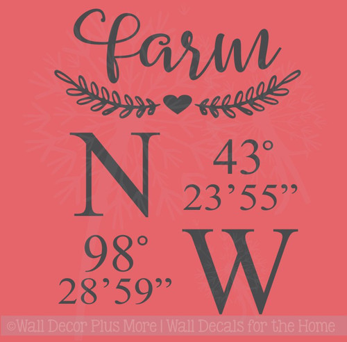 Home or Farm Coordinates Laurel Wreath Farmhouse Decor Wall Decal Sticker