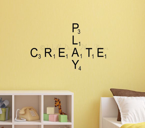 Scrabble Tiles Vinyl Sticker Letters Personalized Wall Decals for Home Décor Black on Walls