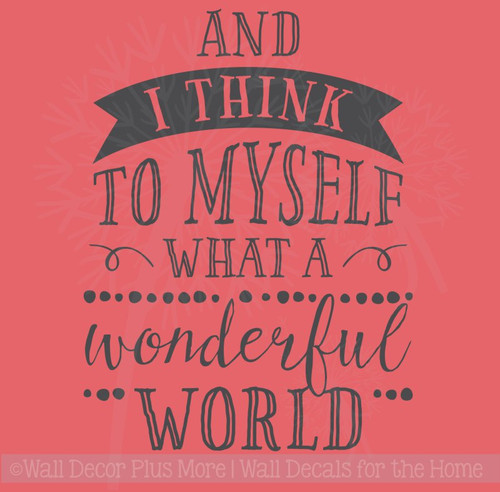 What A Wonderful World Vinyl Letters Inspirational Wall Sticker Decals