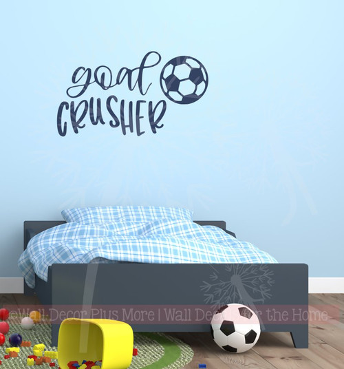 Goal Crusher Vinyl Letters Soccer Wall Stickers Sports Bedroom Decor-Deep Blue