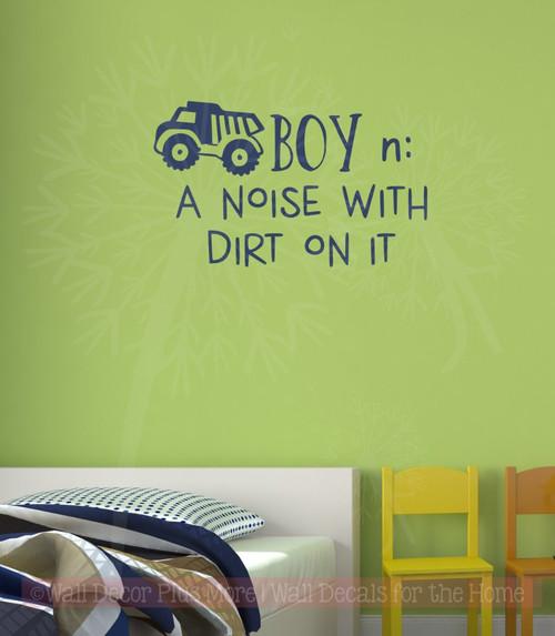 Boy Noun Noise with Dirt Boys Room Wall Decor Vinyl Lettering Decals-Deep Blue
