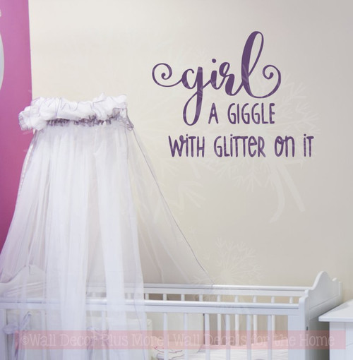 Girl Giggle with Glitter Girls Room Nursery Wall Decor Vinyl Sticker-Plum