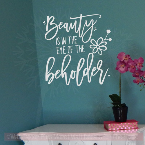 Beauty Is In Eye Of Beholder Wall Sticker Vinyl Letters for Home Decor-Light Gray