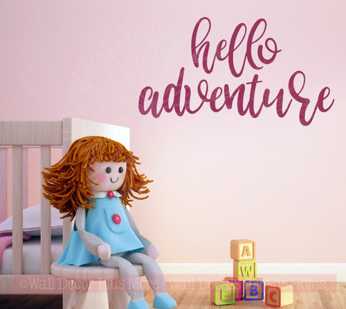 Hello Adventure Vinyl Lettering Decals Nursery Wall Stickers Decal Berry
