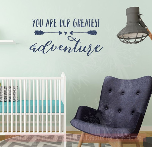 Our Greatest Adventure Baby Wall Decor Vinyl Lettering Nursery Stickers Deep Blue