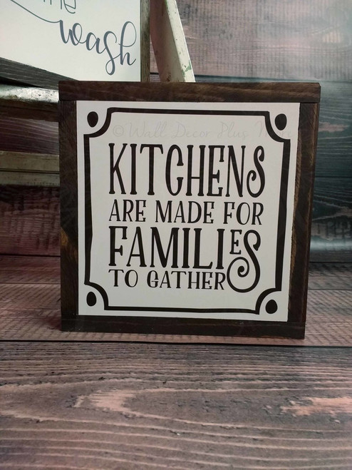 Framed Wood Kitchens are Made for Families to Gather Wood Sign Metal Inspiring Words Hanging Wall Art, 3 Sign Choices-Chocolate