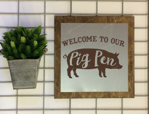 Metal on Wood Welcome to our Pig Pen Heart Wood Sign Metal Inspiring Words Hanging Wall Art, 3 Sign Choices-Chocolate