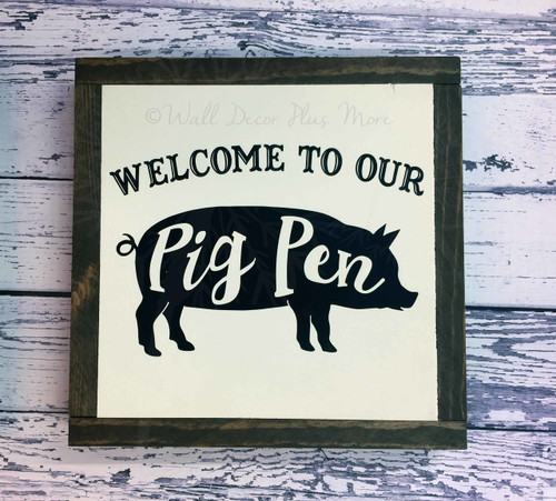 Framed Wood Welcome to our Pig Pen Heart Wood Sign Metal Inspiring Words Hanging Wall Art, 3 Sign Choices-Black