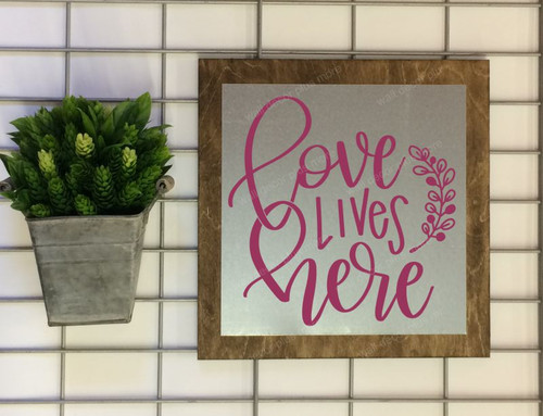 Metal on Wood Love Lives Here Metal or Wood Sign with Vinyl Sticker Quote, Wall Art, 3 Sign Choices-Berry