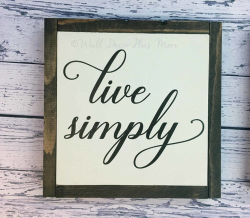 Framed Wood Sign Live Simply Wood Sign Metal with Quote, Hanging Wall Art, 3 Sign Choices