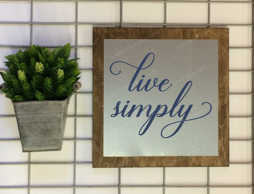 Metal on Wood Sign Live Simply Wood Sign Metal with Quote, Hanging Wall Art, 3 Sign Choices-Deep Blue