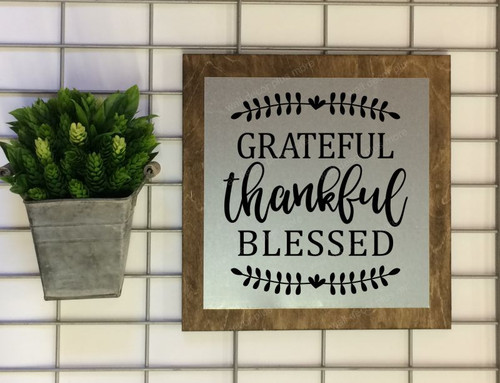 Metal on Wood Sign Grateful Thankful Blessed Wood Sign Metal with Quote, Hanging Wall Art-Black