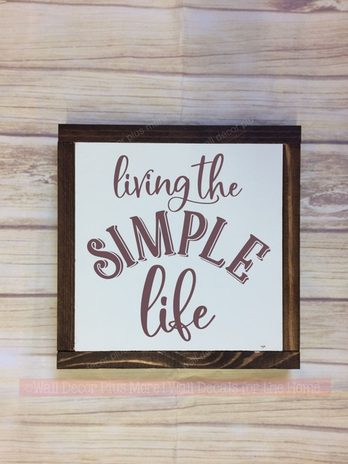 Framed Wood Living the Simple Life Wood Sign Metal with Quote, Hanging Wall Art, 3 Sign Choices-Eggplant