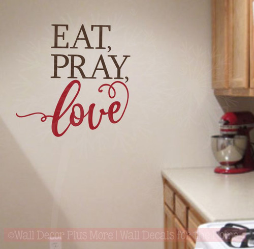Eat Pray Love Wall Stickers Vinyl Lettering Wall Decals for Home Decor-Chocolate, Red