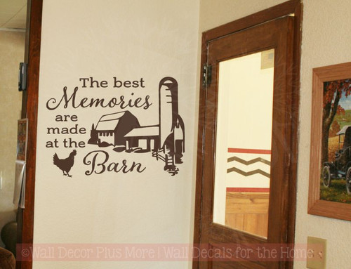Best Memories Made In Barn Vinyl Art Decals Farm Wall Decor Quote-Chocolate