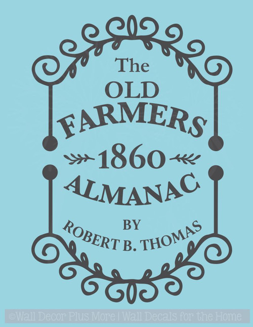 Farmers 1860 Almanac Vintage Wall Sign Stickers Vinyl Lettering Decals