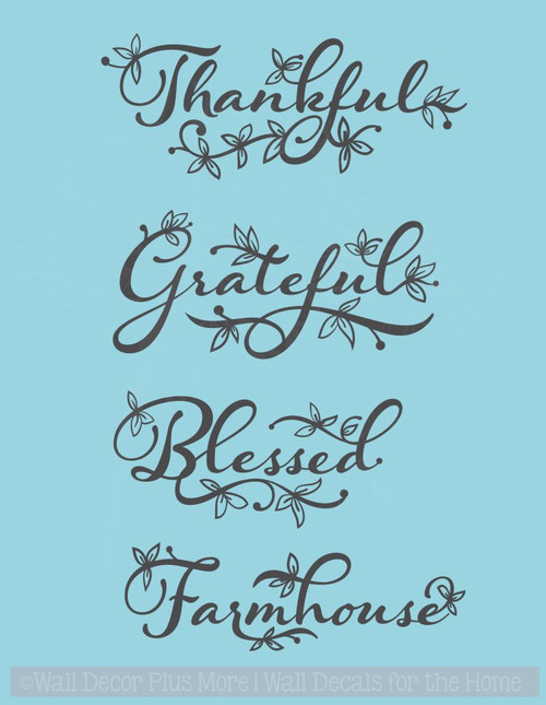 Thankful Grateful Blessed or Farmhouse Vinyl Decals Wall Decor Stickers