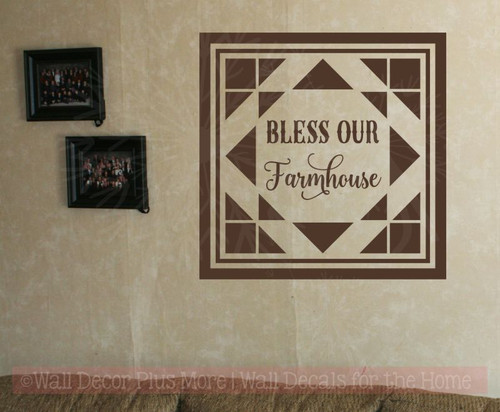 Bless Our Farmhouse Vinyl Sticker Wall Art Decals with Quilt Pattern-Chocolate