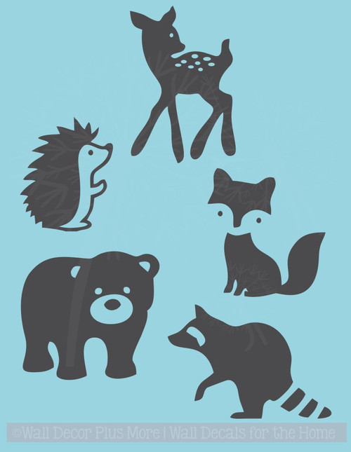 Baby Woodland Animals Silhouette Wall Art Decals Stickers for Nursery Decor