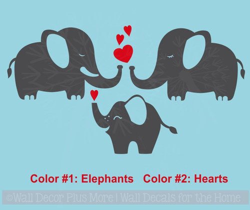 Elephant Family Vinyl Art Decals Wall Stickers for Baby Nursery Decor